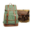 High Quality Army Green Durable Waterproof Waxed Canvas Laptop Back Pack with Metal Buckle for Outdoor