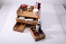 Bamboo Desk Organizer Case MakeUp Storage Drawer
