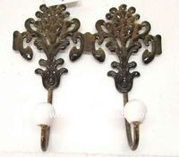 antique rust floral double deco metal hook