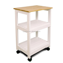 top natural material white wooden kitchen food cart