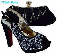 Newest Black Italian Ladies Shoes and Matching Bags with Stones (IT069)