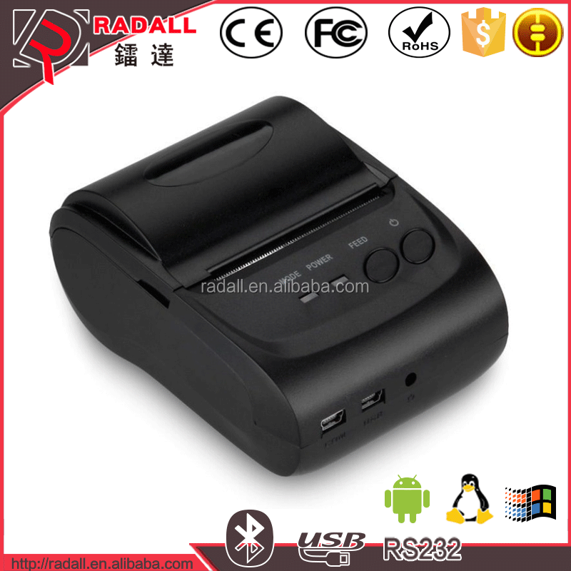 5802LD China low price portable 58mm receipt printer , Handheld mini bluetooth thermal printer supporting the android system