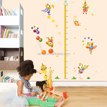 Removable DIY PVC living room sofa decor animal circus height chart wall stickers for baby room decor