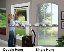 Arch grid design vertical sliding single double hung aluminium window