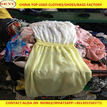 2017 China used clothes in bales women silk blouse and dress hot sale for Africa used clothing buyers