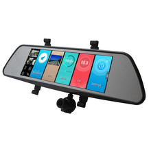 Ukraine Hd Car Dvr Audio Video Recorder Truck Mirror Triple Touch Mirror Blackbox 3g Three Dash Cam Usb Dual Camera