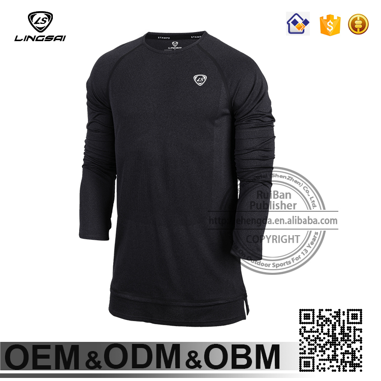 New brand hot LINGSAI men's casual sport cotton long sleeve tops t shirts