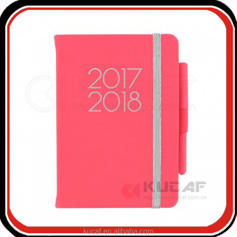 Custom printing pocket size leather weekly planner agenda 2017 2018