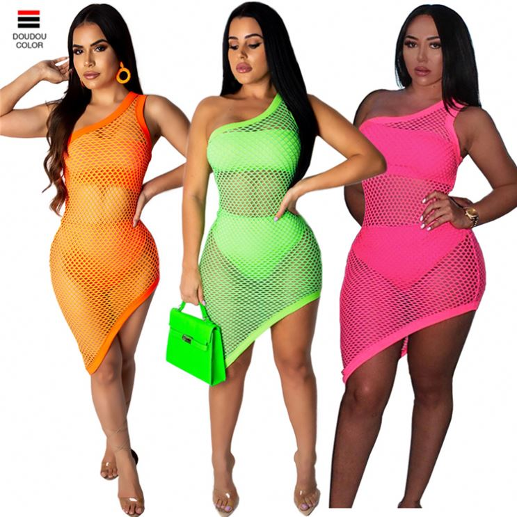 Woman Sexy One Shoulder Neon Irregular Mesh Mini Dress For Night Party
