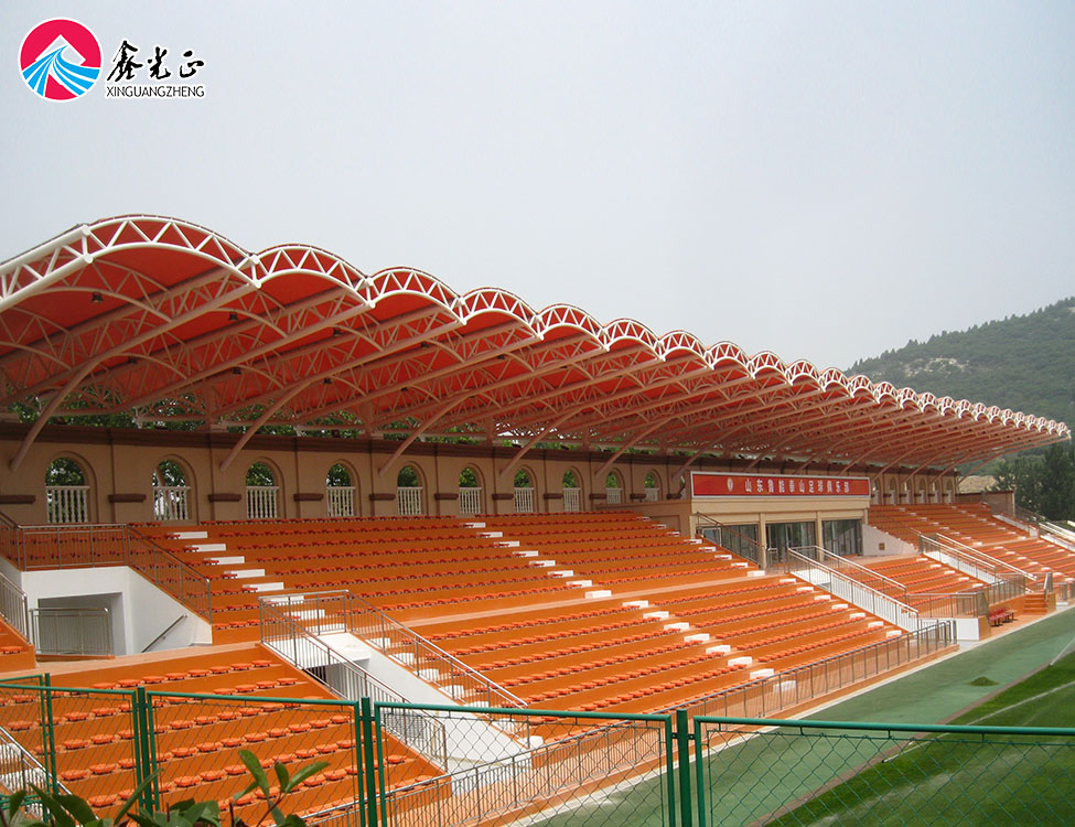 Steel pipe truss tensile membrane structure building football stadium model for sale