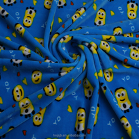 Wholesale China supplier Minions printed polyester spandex fabric for cloth blanket home textile
