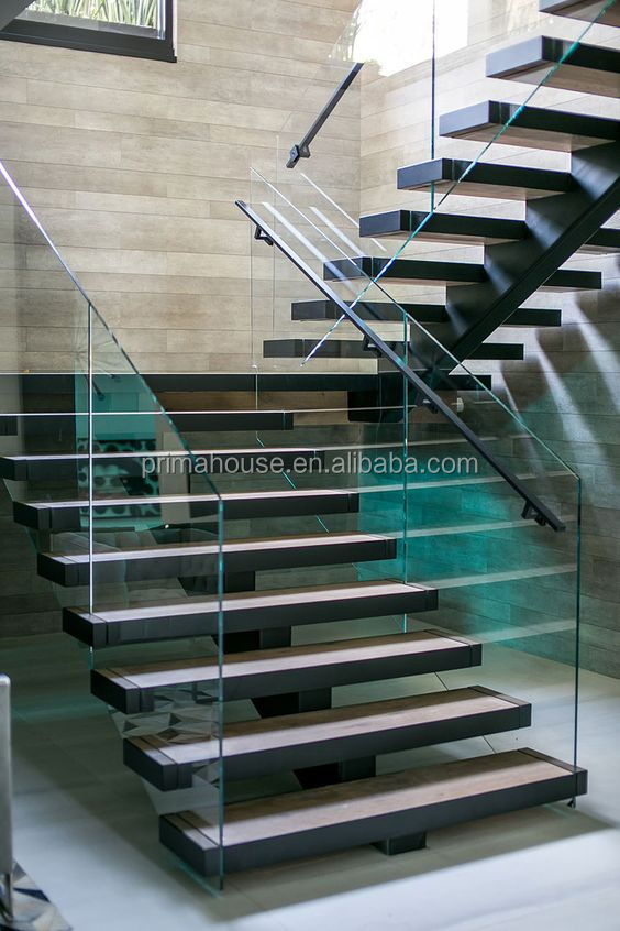 Customized steel wood staircase design / Indoor L shape glass railing metal stringer stairs