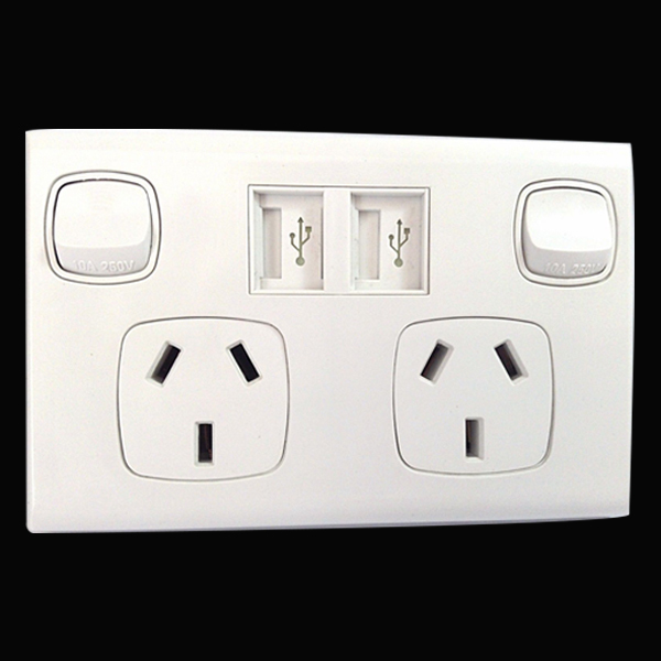 Dual USB wall socket power point charger for Australian market, 5V 2.1A output for all phones and tablets