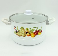 Carbon Steel Cookware With Enamel Coating Enamel Steam Pot With Decoration