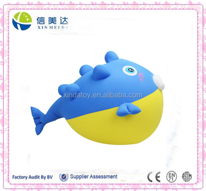 Foam particles spandex puffer fish toy