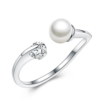 stylish simplicity opening rings 925 sterling silver 0.6*0.6 pearl jewelry wholesale