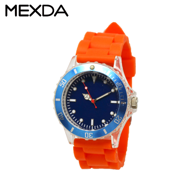 Custom clear square 3atm Japan movt luxury silicone watch for sale