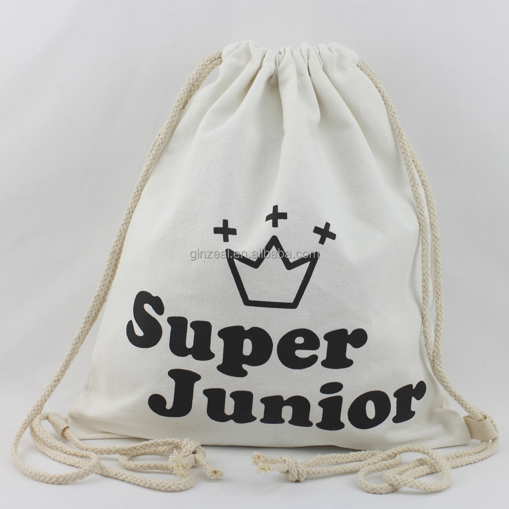 Fashion Style Custom Printed Canvas Soft Cloth Drawstring Bag Shoe Bag