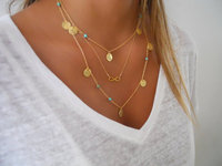 Gold Chain Multi Layer Round Tag Infinity Pendant Turquoise Beads Simple Fashion Summer Necklace