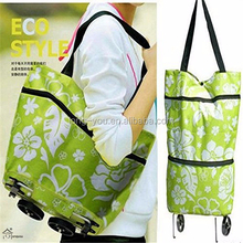 Eco-friendly shopping trolley bag with 2 wheels foldable luggage bag