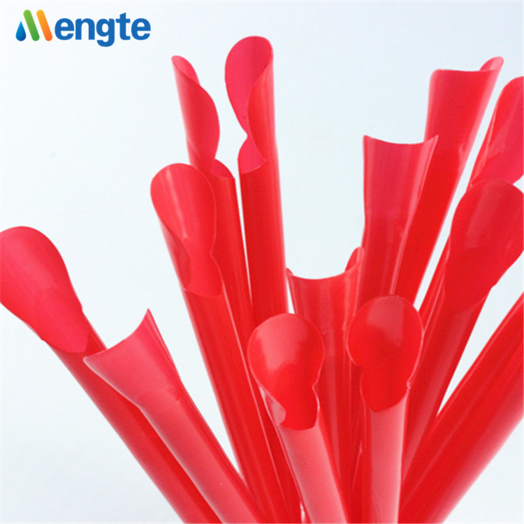 Newest design high quality red plastic spoon drinking straws with tea spoon