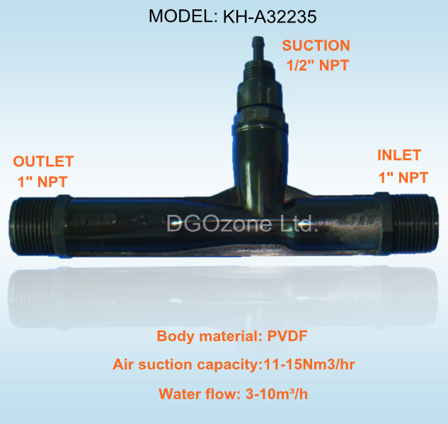"1"" PVDF tubo venturi ,venturi injector, ozone and water mixer (KH-A32235)"