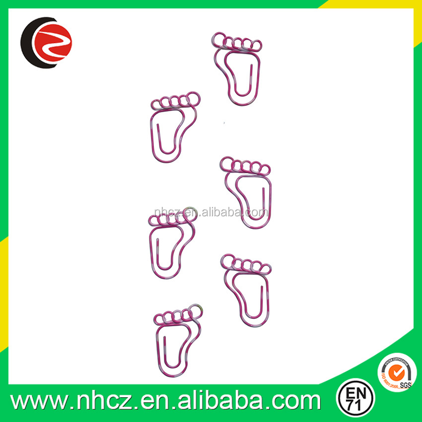 Fashion heart tranfer printing Metal Foot Shaped Paper Clips