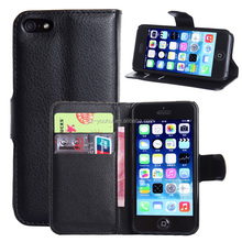 Hot Selling Ultra Thin PU Leather Case Wallet Flip Cover for iPhone 5 5s