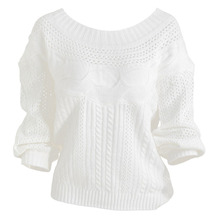 New Women Off The Shoulder Knitted Sweater Hollow Out Pullover Stripes Long Lantern Sleeve Knitwear Jumper Top White