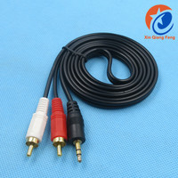 Factory price 1.5m black male to male 3.5mm Aux stereo to 2 rca y splitter audio adapter cable jack cable for mobile phone