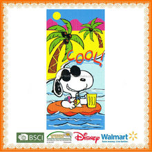 100% cotton reactive printed snoopy beach towel