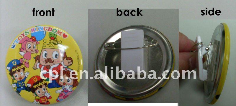 OEM tin button badges with plastic clip and safety pin