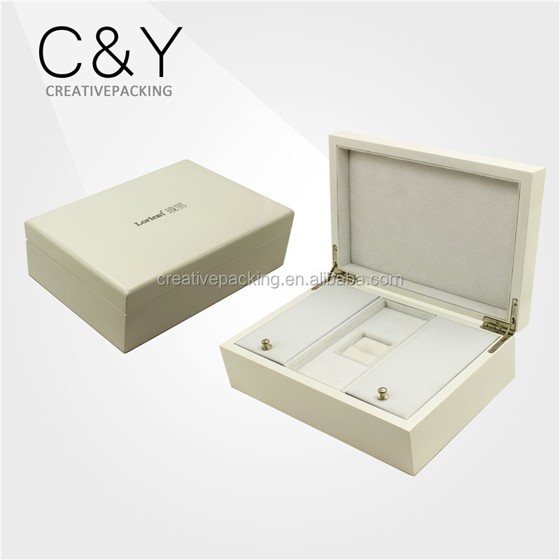 Gift jewelry storage white piano lacquer wooden packaging box