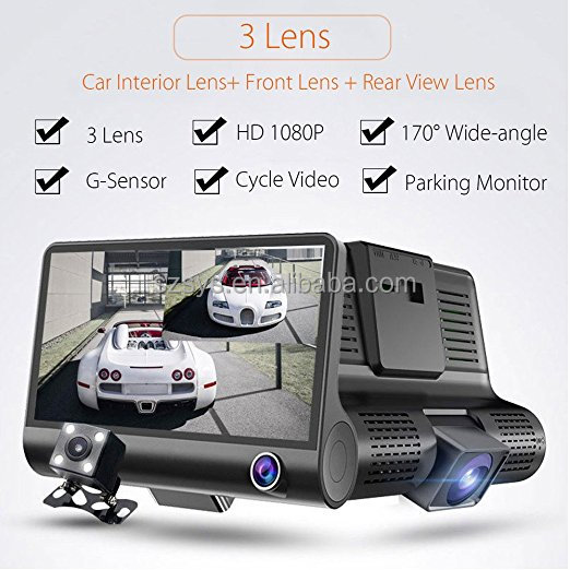 Three Camera Recorder 4''inch fhd 1080P Vehicle 2 Channel Car Dash Cam Front Rear Video Black Box DVR