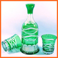 best sale green blue Glass pitcher and glass tumbler colorful drinkware set
