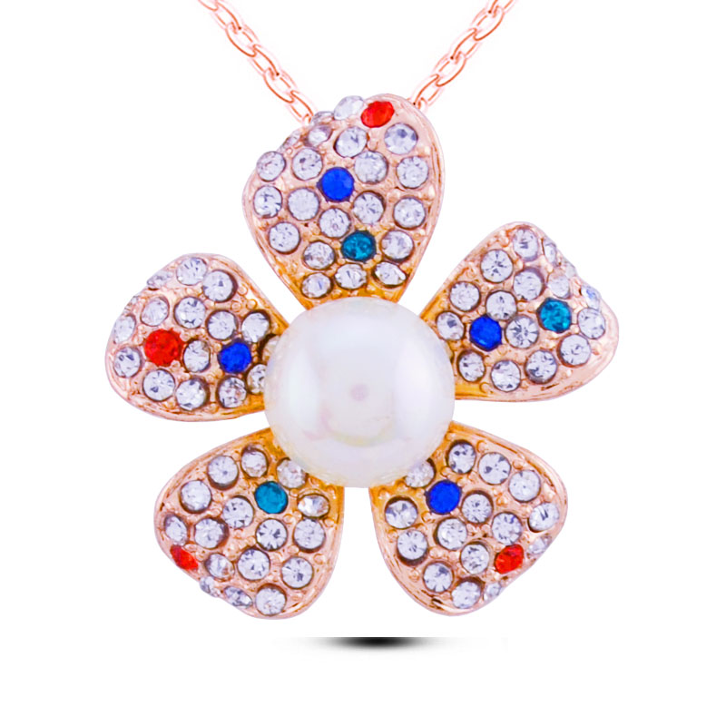 N341 Korean Rose Gold Five Leaves Flower Necklace 2017 Fashion Jewelry Dropshipping Pearl Pendant Necklace Bridesmaid Gift