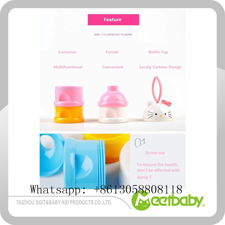 Convenient Baby Infant Feeding Milk Powder & Food Bottle Container 3 Cells Grid Practical Box