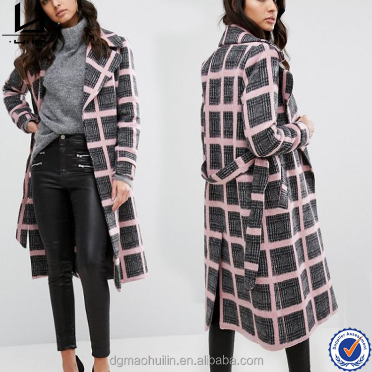 China wholesale fashion new style long sleeve yarn dyed latest coat designs for women