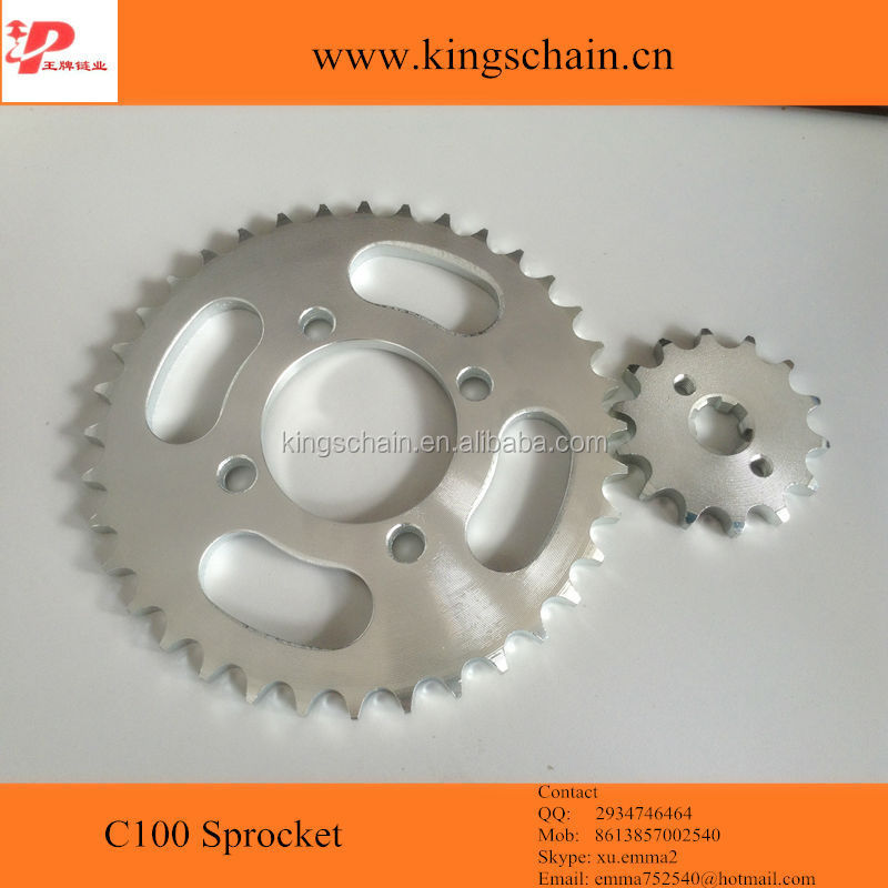 Chinese motorcycle parts galvanized 45# <strong>C100</strong> motorcycle chain <strong>sprocket</strong> kit