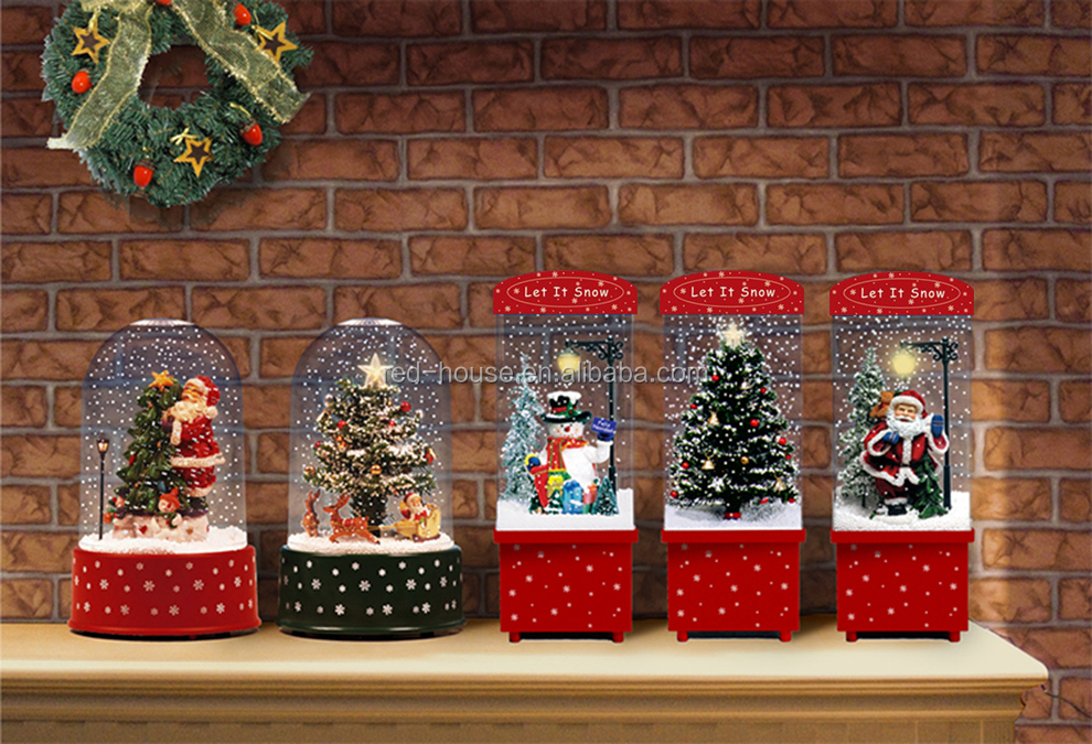 Hot Sale Merry Christmas Products Windmill House Christmas Decoration with Transparent Case Snowing Christmas Crafts