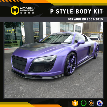 P style material carbon fiber auto spare parts front bumper wide car body kits for audi r8 body kit
