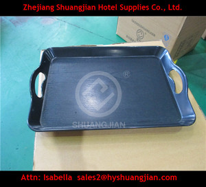 Cheap plastic serving tray with handle, high quality promotiom tray