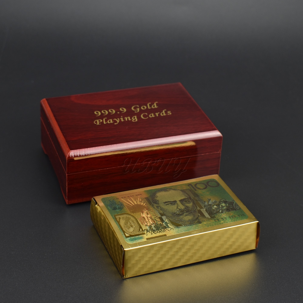 Australia 100 Dollar Colorful Gold Plated Plastic Playing Cards With Gift Box