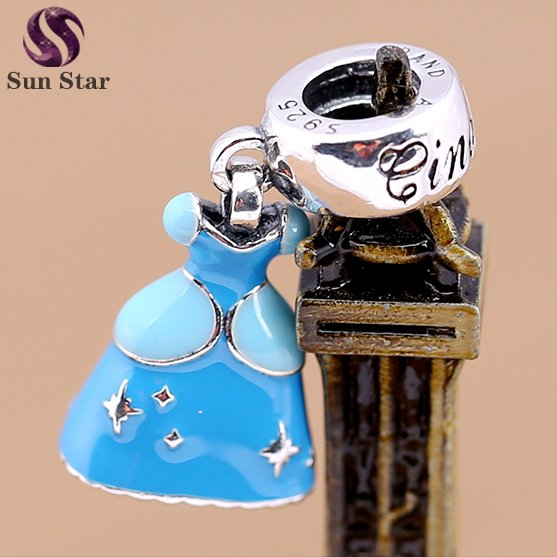 2016 new design silver payal jewelry for girl blue enamel Charms with 2 Color Princess Dress dangle charm fit DIY bracelets