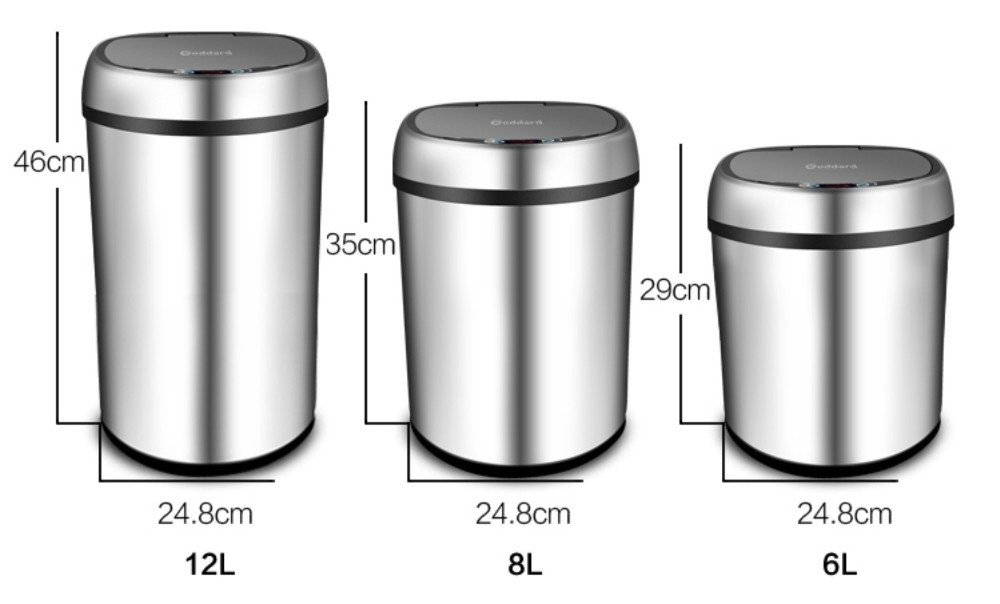 Smart Motion Sensor Stainless Steel Slim Trash Cans for Kitchen