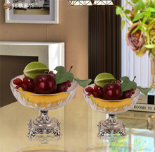 New year tabletop ornament transparent glass fruit bowls fruit plate for home decor