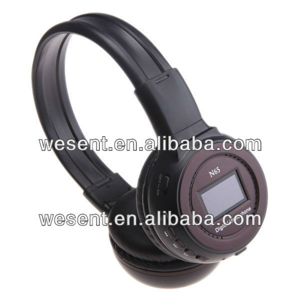 insert sd card mp3 player headset with FM, with lcd screen, with SD/TF card N65