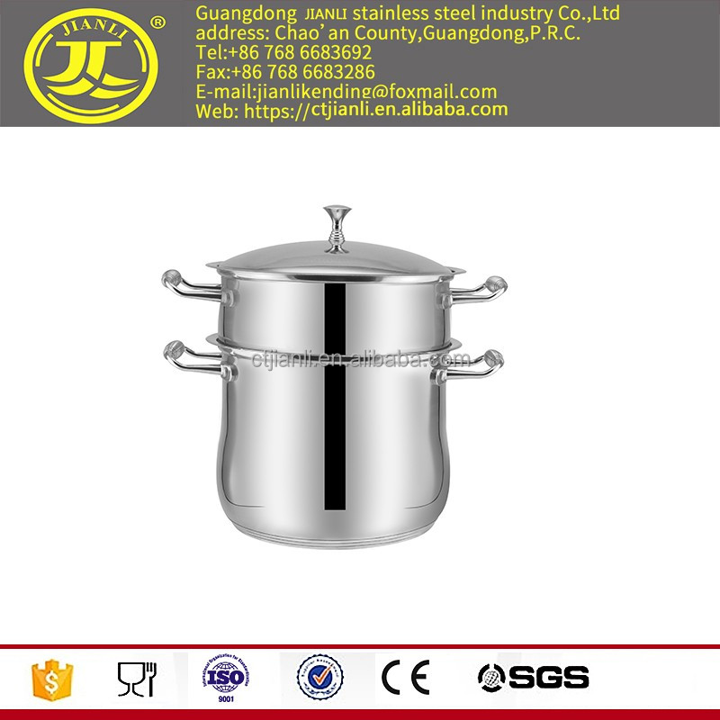 Useful kitchen pot stainless steel hot pot with laser polish two layer COOKING POT