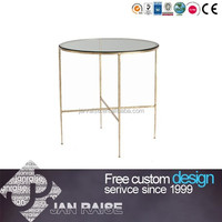 Round hammered iron side table with clear glass top OK-103036