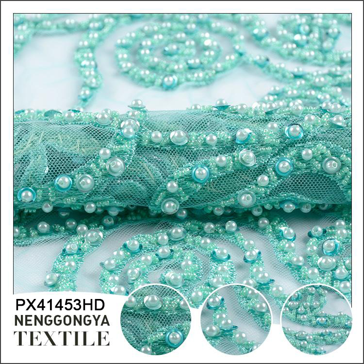 Hot sale Designer Poly party beaded sequined lace fabric